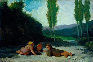 Bambini-che-giocano-lungo-il-greto-del-fiume