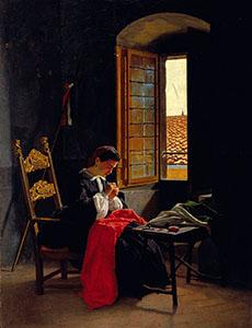 Odoardo-Borrani--donna-che-cuce-il-tricolore