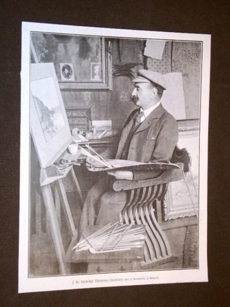 Eugenio Gignous nel suo studio